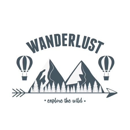 wanderlust label with forest scene and balloon air hot