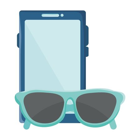 smartphone with summer sunglasses icons vector illustration design Çizim