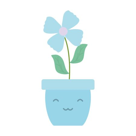 garden flower in pot kawaii character vector illustration design