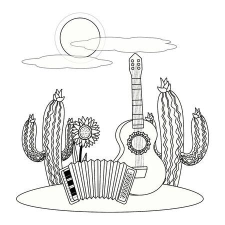 music instruments guitar with accordion outdoor scene cartoon vector illustration graphic design