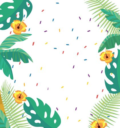 tropical leaves and flowers background Stock Illustratie