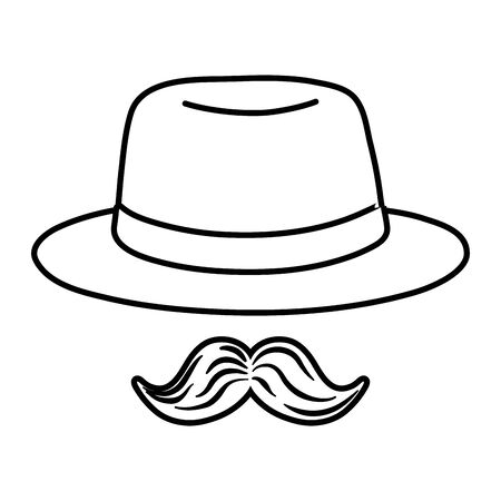hat and moustache black and white Иллюстрация