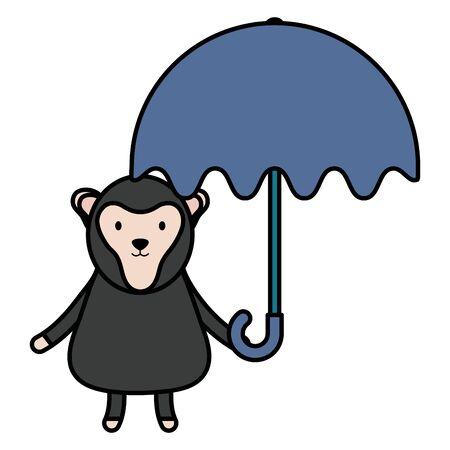 cute monkey with umbrella childish character