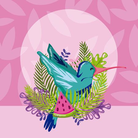 Exotic birds cartoon over tropical leaves background vector illustration graphic design