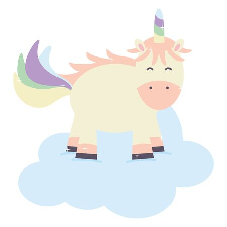 cute adorable unicorn floating in cloud fairy character Ilustrace
