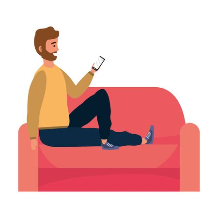 Millenial person stylish outfit sitting in couch Illusztráció