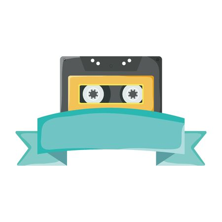 retro music cassette with tape frame Иллюстрация