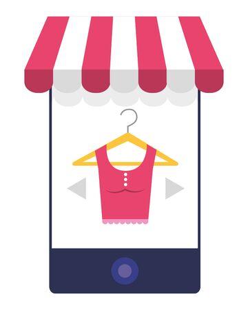 Smartphone and store icon design vector illustration Stock Illustratie