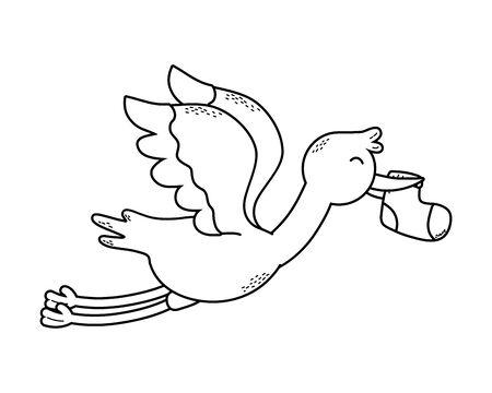 cute baby shower stork cartoon Çizim