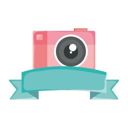 camera photographic device with tape frame Ilustração