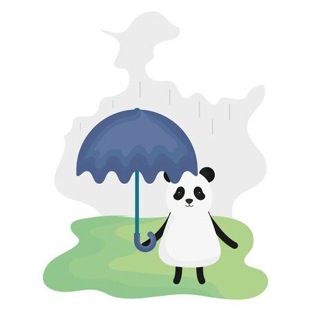 cute bear panda with umbrella character