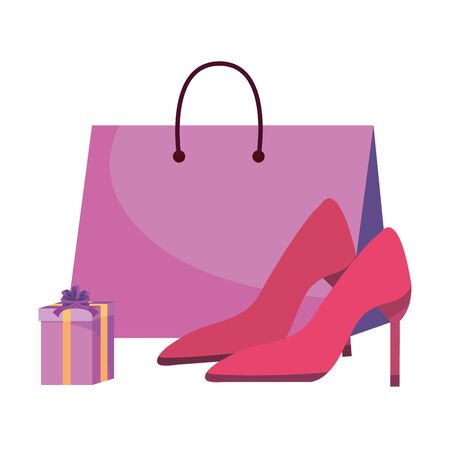 Shopping bag gift and heels icons  イラスト・ベクター素材