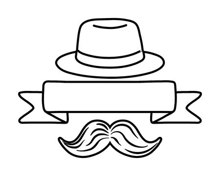hat with ribbon and moustache black and white Иллюстрация