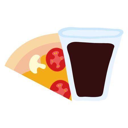 delicious italian pizza and soda glass