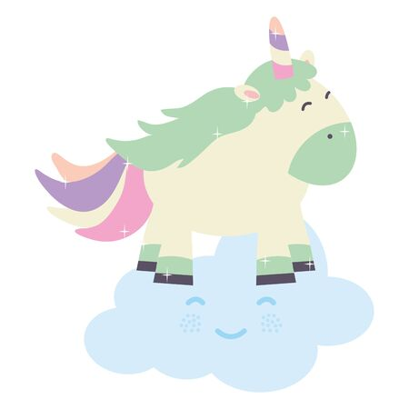 cute adorable unicorn and clouds fairy characters