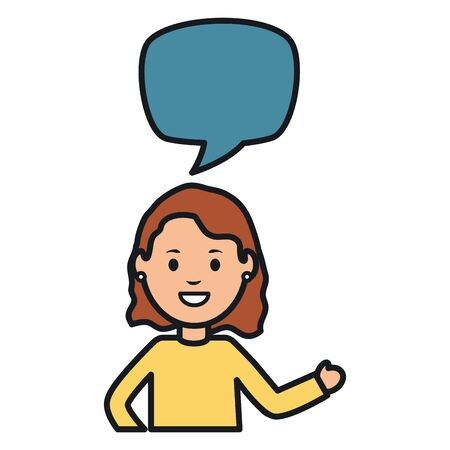 young woman with speech bubble avatar character 向量圖像
