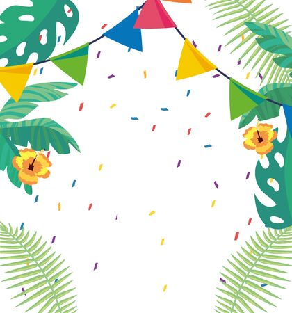 tropical background with yellow flowers leaves pennants and streamer, blank space vector illustration graphic design