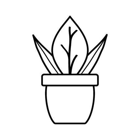 house plant in ceramic pot Ilustracja