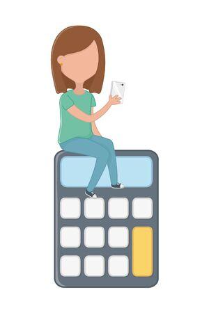 Calculator with girl icon set Stock Illustratie