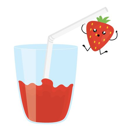 glass with juice strawberry fresh fruit character vector illustration design Иллюстрация