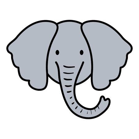 cute elephant head childish character