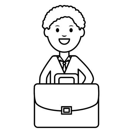 young businessman with portfolio  イラスト・ベクター素材