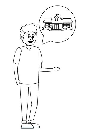 real estate man looking for house to buy cartoon vector illustration graphic design Standard-Bild - 129266269