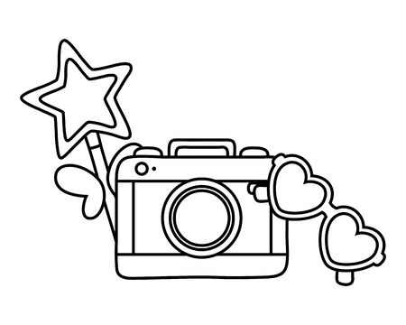 camera wand and sunglasses icon cartoon black and white vector illustration graphic design