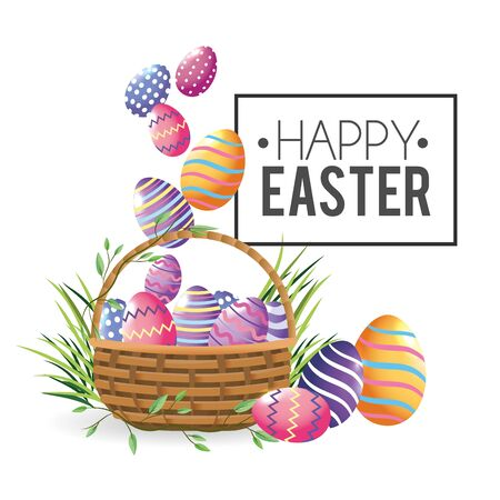 easter eggs decoration with grass inside basket vector illustration