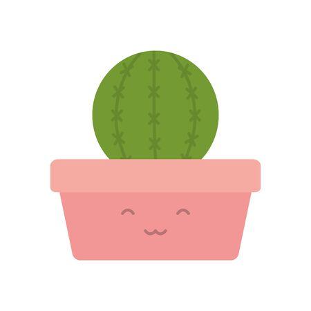 exotic cactu plant in square ceramic pot kawaii character vector illustration design 向量圖像