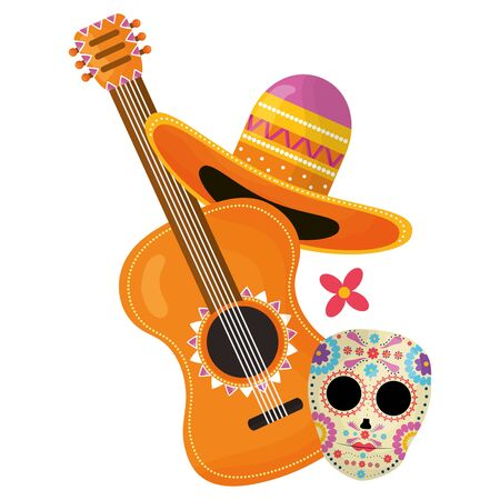 guitar with mexican hat Иллюстрация