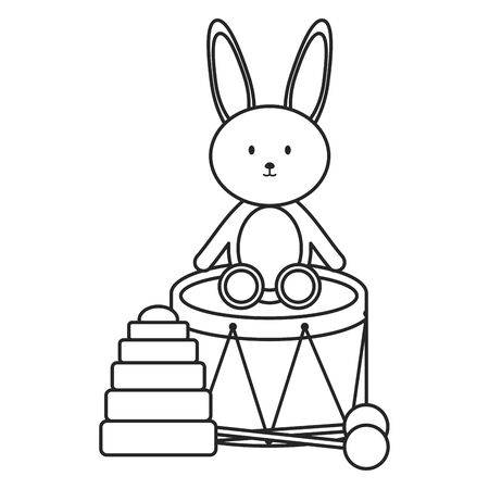 drum musical and rabbit toys Иллюстрация