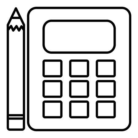calculator math device with pencil Çizim