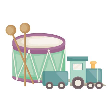 drum musical with little train square frame and birthday elements vector illustration