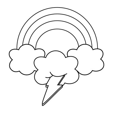 lighting and cloud with rainbow black and white  イラスト・ベクター素材