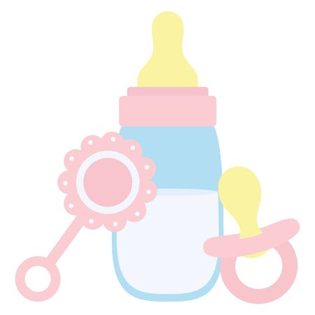 baby bottle milk with maracas and pacifier Illustration