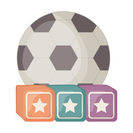 cubes blocks with stars and soccer balloon toys square frame and birthday elements vector illustration Çizim