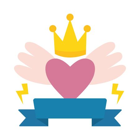 heart love with wings and crown pop art style  イラスト・ベクター素材