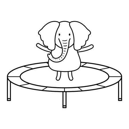 cute elephant in elastic trampoline character