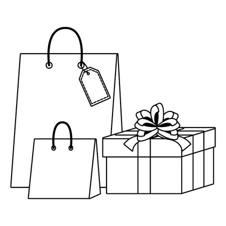 Shopping bag and gift icons