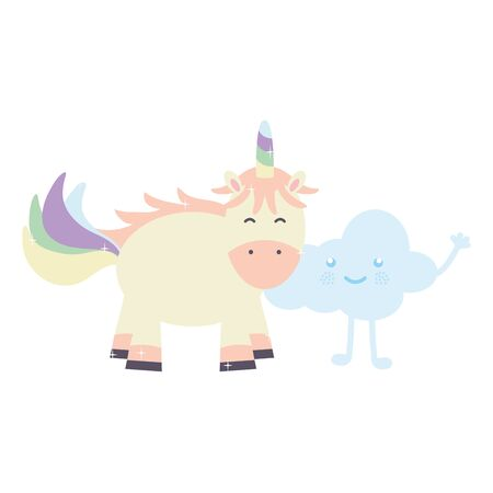 cute adorable unicorn and clouds kawaii fairy characters vector illustration design