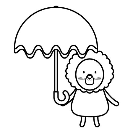 cute lion with umbrella childish character Vectores