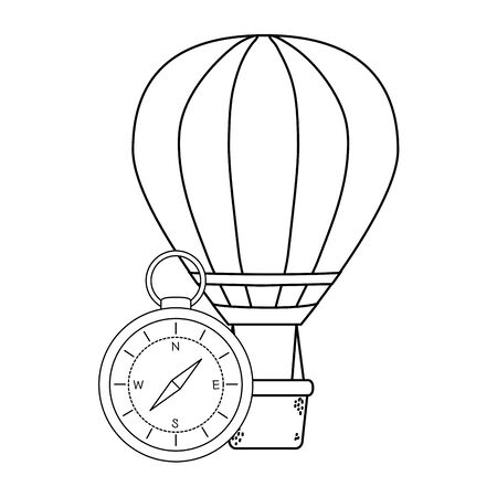 balloon air hot flying with compass Ilustrace