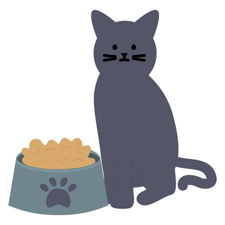 cute cat mascot with dish food Stock Illustratie