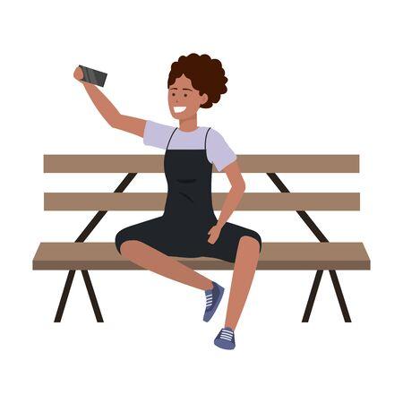 Millenial person stylish outfit bench Illusztráció