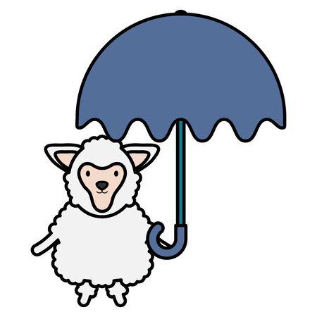 cute sheep with umbrella childish character