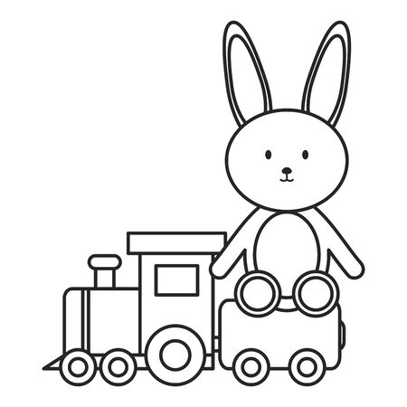 little train with bunny toys vector illustration design Фото со стока - 129273554