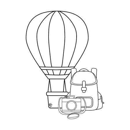 balloon air hot flying with travelbag and camera Ilustração