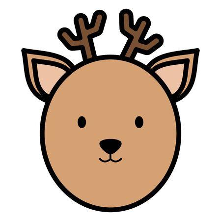 cute reindeer head childish character Çizim