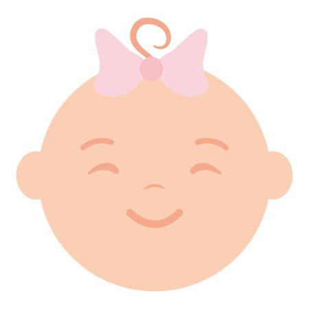 cute little baby girl head character Çizim